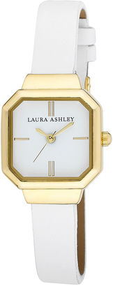 Laura Ashley Ladies White Petite Case With Matching Colored Sunray Dial Watch La31004Wt $295 thestylecure.com