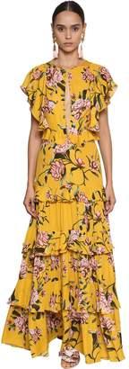 Johanna Ortiz Printed Light Crepe Long Dress W/Ruffles