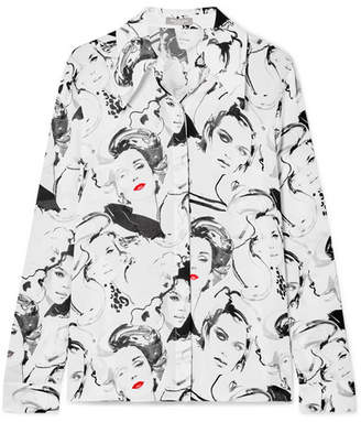 Michael Kors David Downton Printed Silk Crepe De Chine Blouse - White