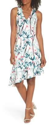 Maggy London Floral Asymmetrical Scuba Sheath Dress