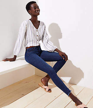 LOFT Modern High Rise Chewed Hem Skinny Jeans in Staple Dark Indigo Wash
