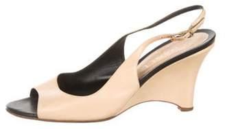 Chanel Peep-Toe Slingback Wedges Tan Peep-Toe Slingback Wedges