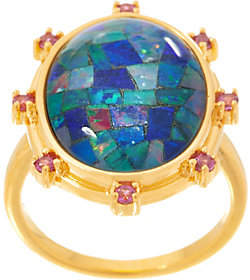 QVC Opal Mosaic Statement Ring, Sterling Silver