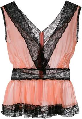 Dolce & Gabbana sheer lace trim peplum top