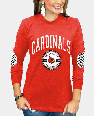 Couture Gameday Women Louisville Cardinals Elbow Patch Long Sleeve T-Shirt