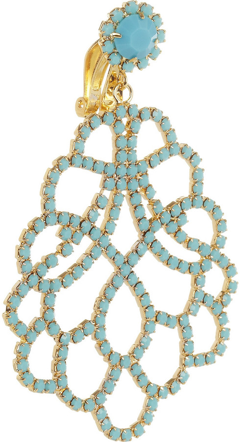 Kenneth Jay Lane Gold-plated crystal clip earrings