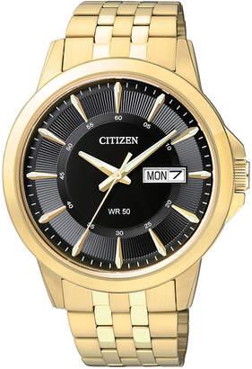 JCPenney Citizen Quartz Citizen Everyday Mens Black Dial Gold-Tone Stainless Steel Watch BF2013-56E