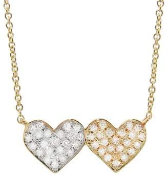 Sydney Evan Medium Double Heart Diamond Necklace