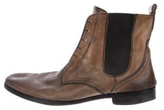 John Varvatos Distressed Leather Ankle Boots