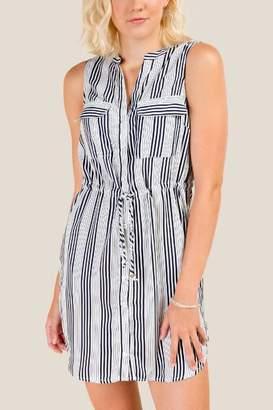 francesca's Tara Striped Button Down Dress - Ivory