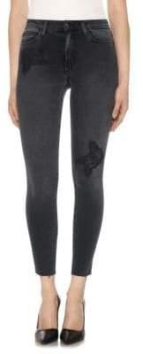 Joe's Jeans Charlie High-Rise Embroidered Raw-Hem Skinny Jeans