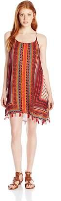 Angie Junior's Ivory and Orange T-Back Tassel Hem Dress, Ivory/Orange