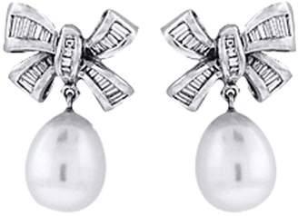 18K White Gold South Sea Pearl Bow-Tie Diamond Earrings