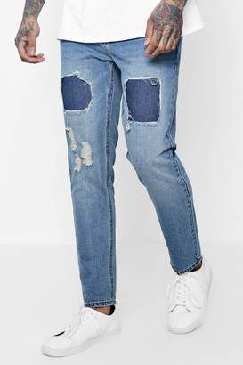 boohoo Slim Fit Jeans with Repaired Thigh Detail