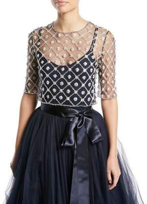 Jenny Packham Elbow-Sleeve Crystal & Floral Illusion Tulle Lattice Top