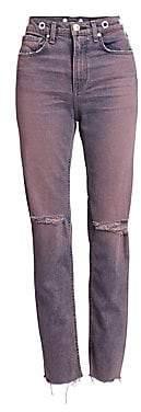 Rag & Bone Women's Maya High-Rise Distressed Straight Leg Ankle Jeans