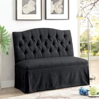 Furniture of America Dehlia Dark Gray Tufted Love Seat Bench