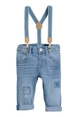 H&M Jeans with Suspenders - Denim blue - Kids