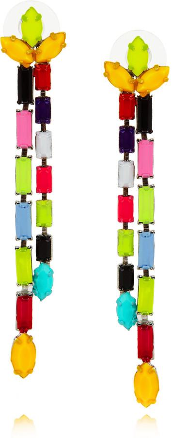 Tom Binns Dot Dash painted Swarovski crystal drop earrings