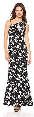 Nicole Miller Women's one-Shoulder Gathered Waist Gown, Black/White