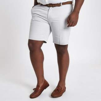 River Island Big and Tall stone belted chino shorts