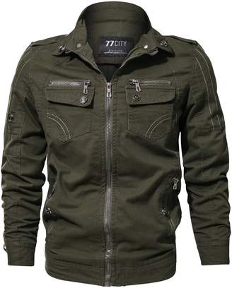 K3K Men's Casual Cotton Military Jacket Bomber Air Force Utility Coat Outdoor Windbreaker