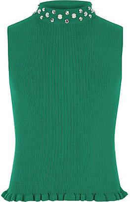 River Island Girls green embellished neck tank top