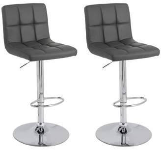 CorLiving Medium Back Adjustable Barstool in Dark Grey Bonded Leather, set of 2