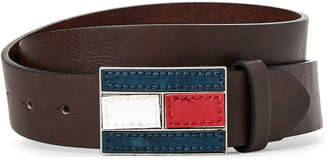 Tommy Hilfiger Brown Logo Flag Plaque Belt