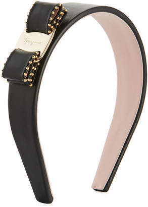 Salvatore Ferragamo Vara Leather Logo Headband