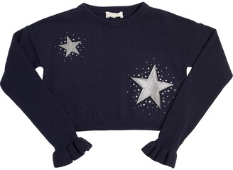 MonnaLisa Stars Embellished Cropped Wool Sweater