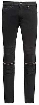 HUGO BOSS Skinny-fit black stretch-denim jeans with biker details