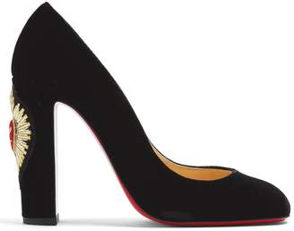 Christian Louboutin Cadrilla Corazon 110 crest-embroidered pumps
