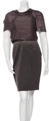 Lela Rose Embellished-Accented Sheath Dress