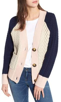 BP Colorblock Cable Knit Button Cardigan