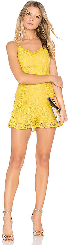 J.O.A. Frill Bottom Detail Lace Romper in Yellow 5
