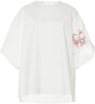 DELPOZO Cotton-Poplin Embroidered Shirt