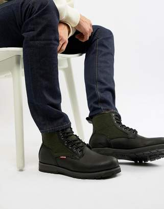 6aac7ac6dd Levi's logan leather boot with wool detail in black