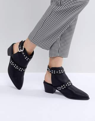 Miss Selfridge Backless Studded Western Ankle Boots