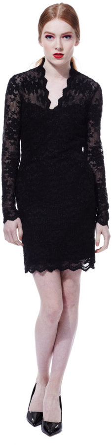 DOLCE VITA Long-Sleeve Lace Dress with Scalloped Trim