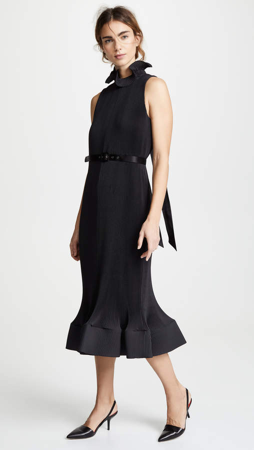 Pleated Belted Sleeveless Dress