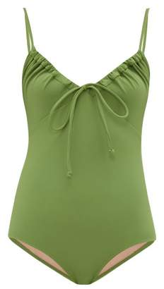 Three Graces London Cleo Ruched Neckline Jersey Swimsuit - Womens - Green