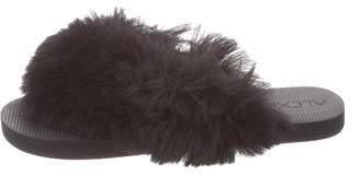 Alexis Faux Fur Thong Sandals