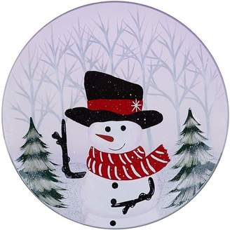 Pavilion Gift Company - Hand Painted Snowman Frosted Glass Candle Tray, 7.25 Inch