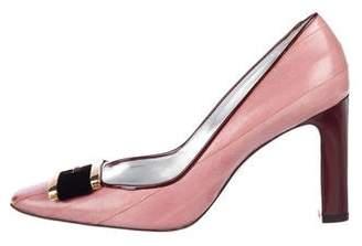 Dolce & Gabbana Eel Skin Square-Toe Pumps