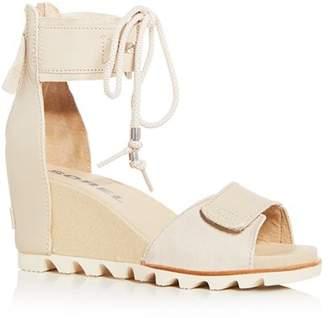 Sorel Women's Joanie Leather & Suede Ankle Tie Wedge Sandals