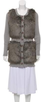Alberto Makali Rib Knit Faux-Fur Accented Cardigan