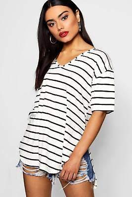 boohoo NEW Womens Stripe Oversized Split Side T-Shirt in Polyester 5% Elastane