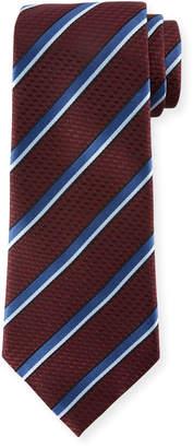 Ermenegildo Zegna Diagonal Striped Silk Tie, Burgundy/Blue