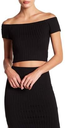 AFTER MARKET Tori Off-the-Shoulder Ribbed Cropped Blouse